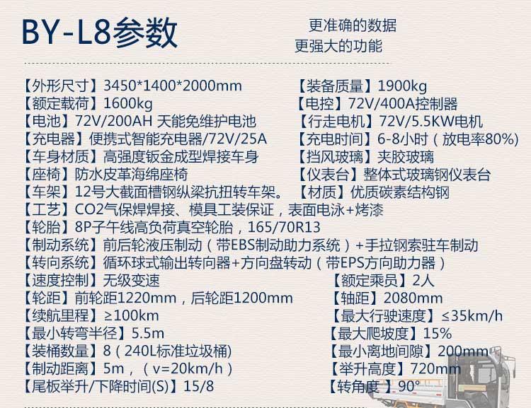 桶装垃圾运输车BY-L8产品技术参数