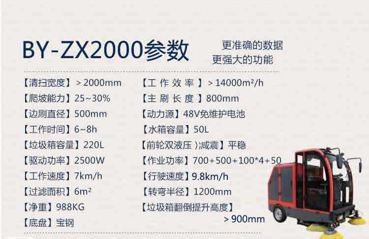 环卫电动清扫车BY-ZX2000产品技术参数