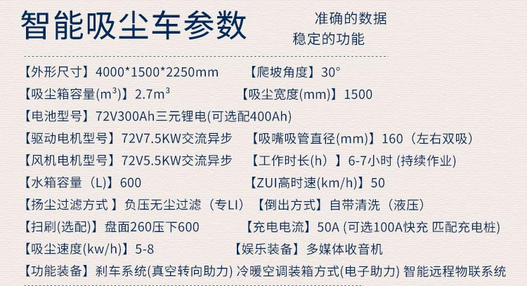 道路清扫吸尘车BY-XC50产品技术参数
