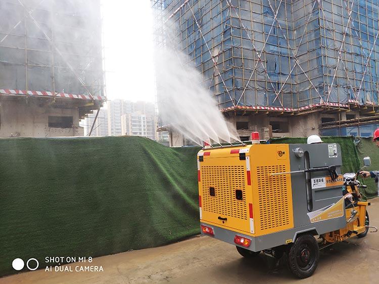 高压冲洗车的喷雾抑尘功能