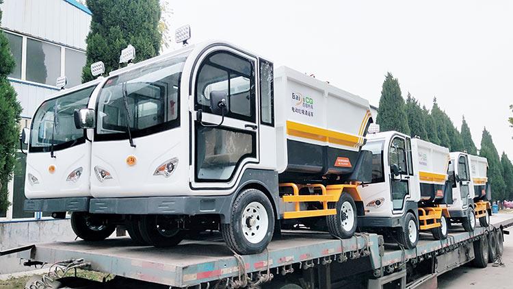 高唐县环卫清运有限公司引进纯电动垃圾清运车发货现场