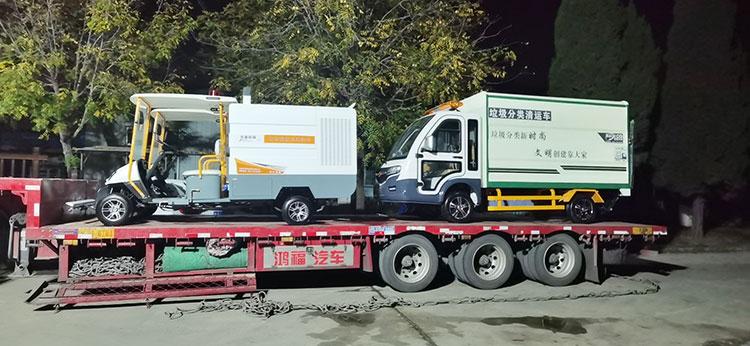 银川机场引进高压冲洗车和垃圾清运车发货现场