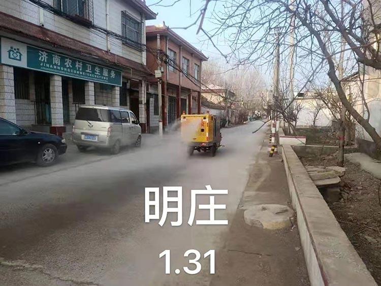 百易高压冲洗车在明庄消毒作业