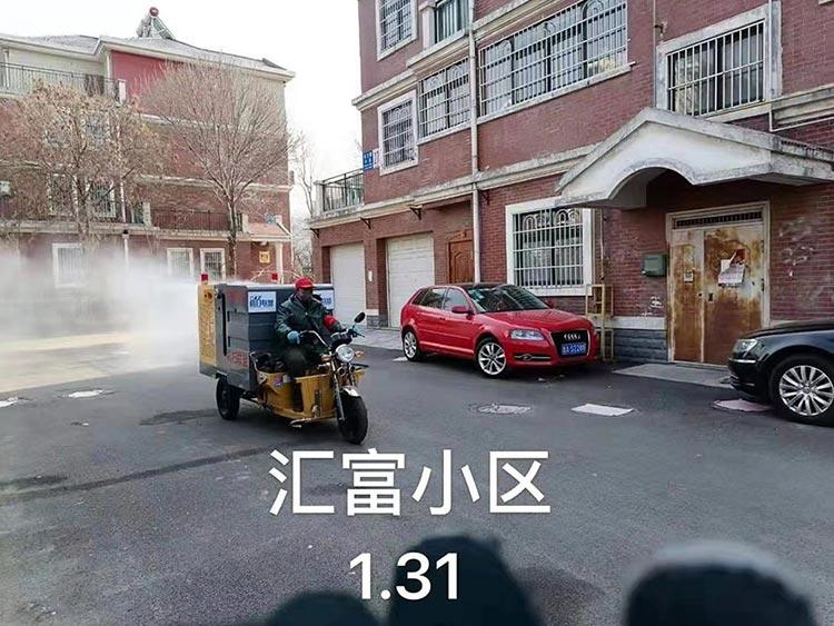 百易高压冲洗车在汇富小区消毒作业