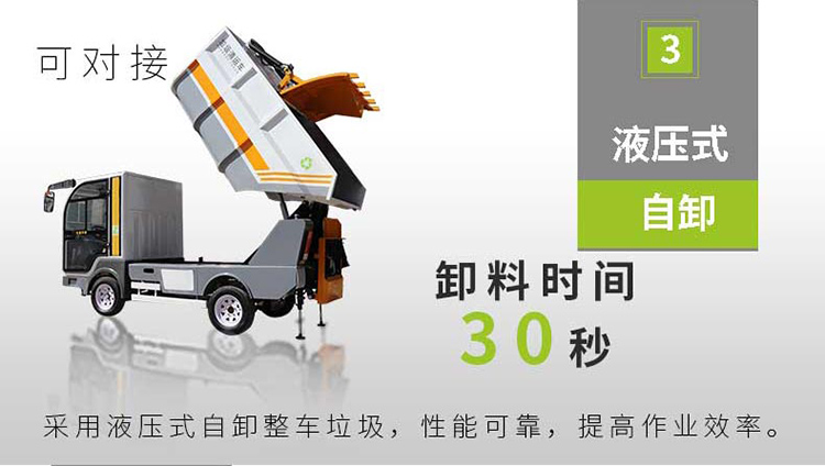 百易纯电动垃圾清运车采用液压自卸