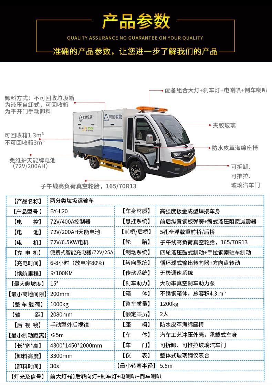 两分类纯电动垃圾清运车产品技术参数