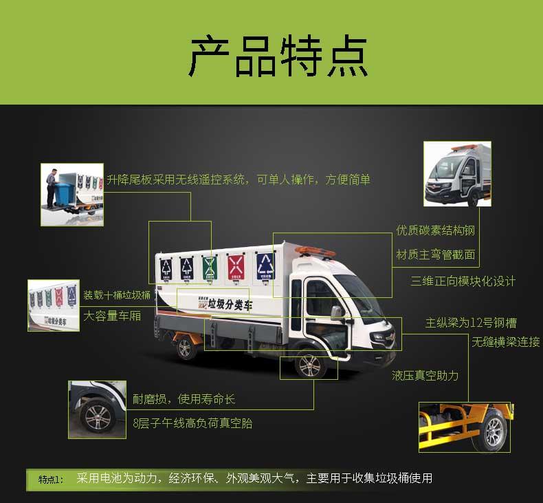 百易长青十桶装四分类纯电动垃圾清运车产品特点